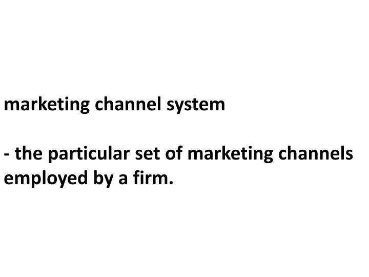Marketing channel system