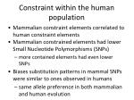constraint within the human population