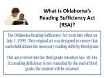 what is oklahoma s reading sufficiency act rsa