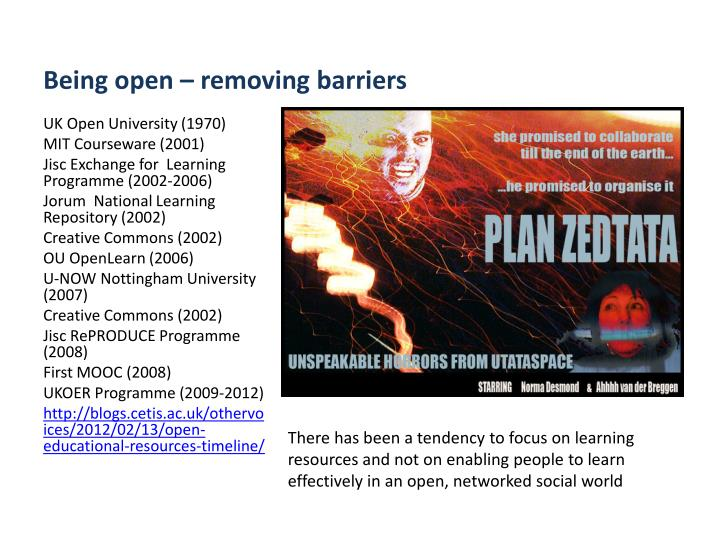 Being open – removing barriers