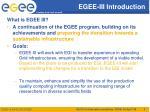 egee iii introduction