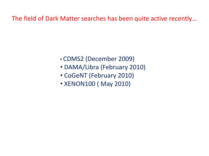 The field of Dark Matter searches has been quite active recently…