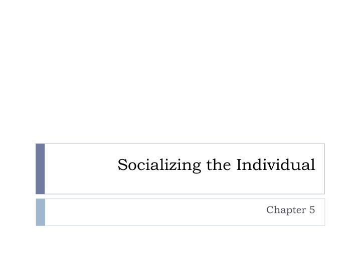 socializing the individual n.