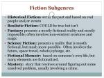fiction subgenres