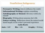 nonfiction subgenres