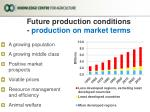 future production conditions production on market terms