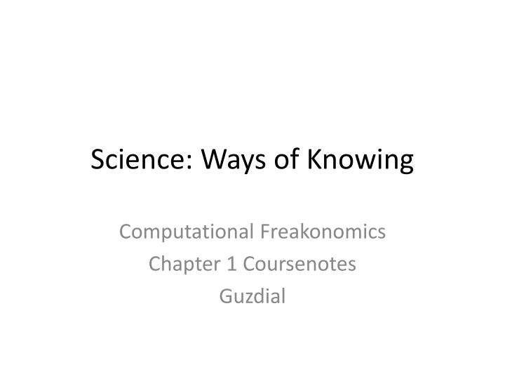 science ways of knowing n.