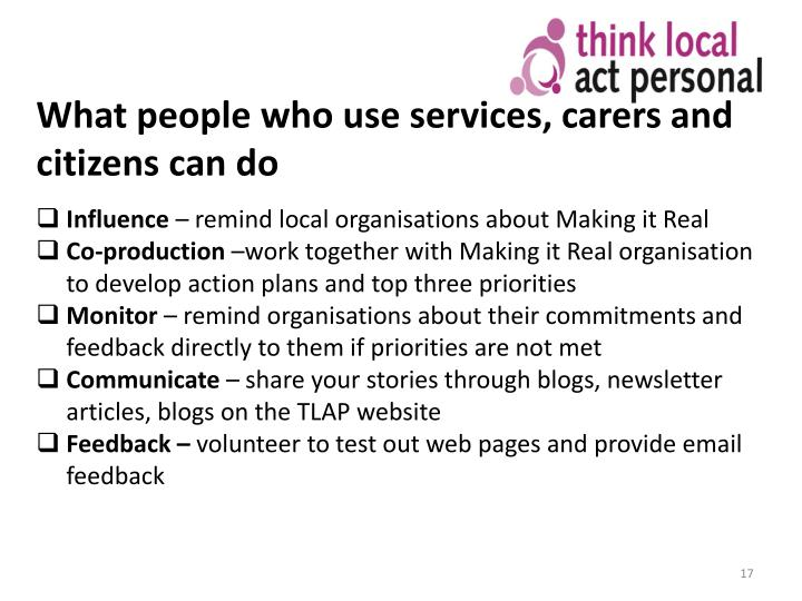 What people who use services, carers and citizens can do