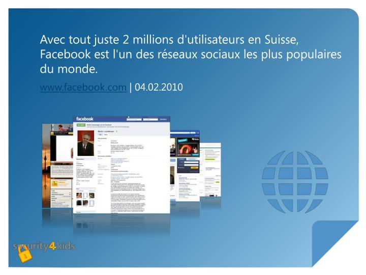 Avec tout juste 2 millions d'utilisateurs en Suisse, Facebook est l'un des réseaux sociaux les plus populaires du monde.