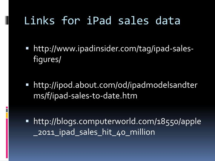 Links for iPad sales data