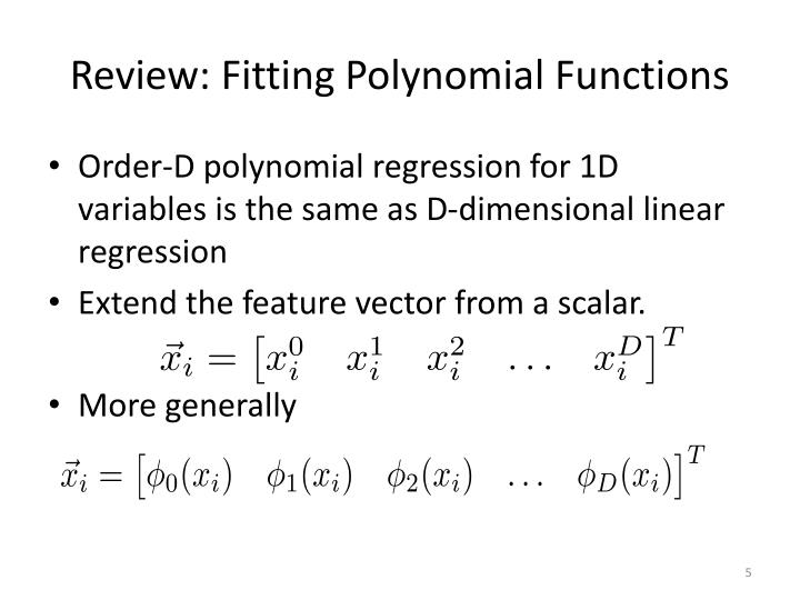 Review: Fitting Polynomial Functions