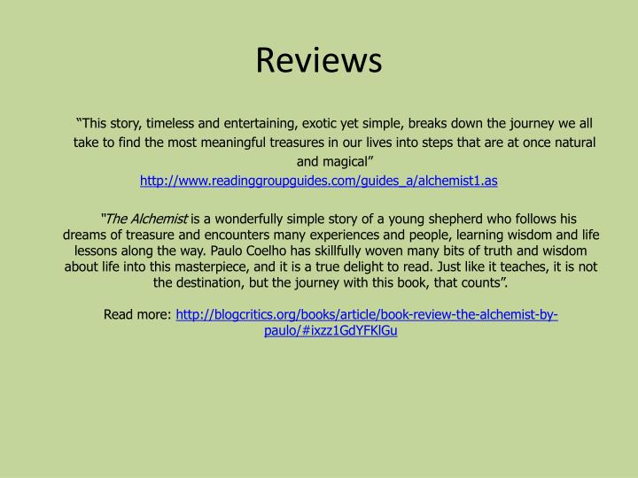 ppt the alchemist by paulo coelho powerpoint presentation id  from the alchemist reviews reviews ""