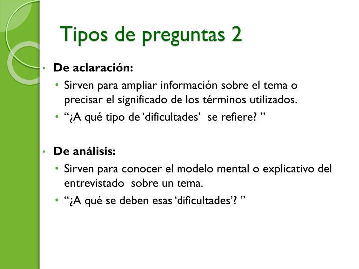Tipos de preguntas 2