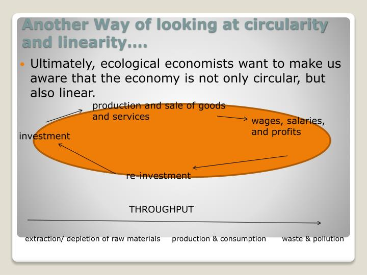 Ultimately, ecological economists want to make us aware that the economy is not only circular, but also linear.