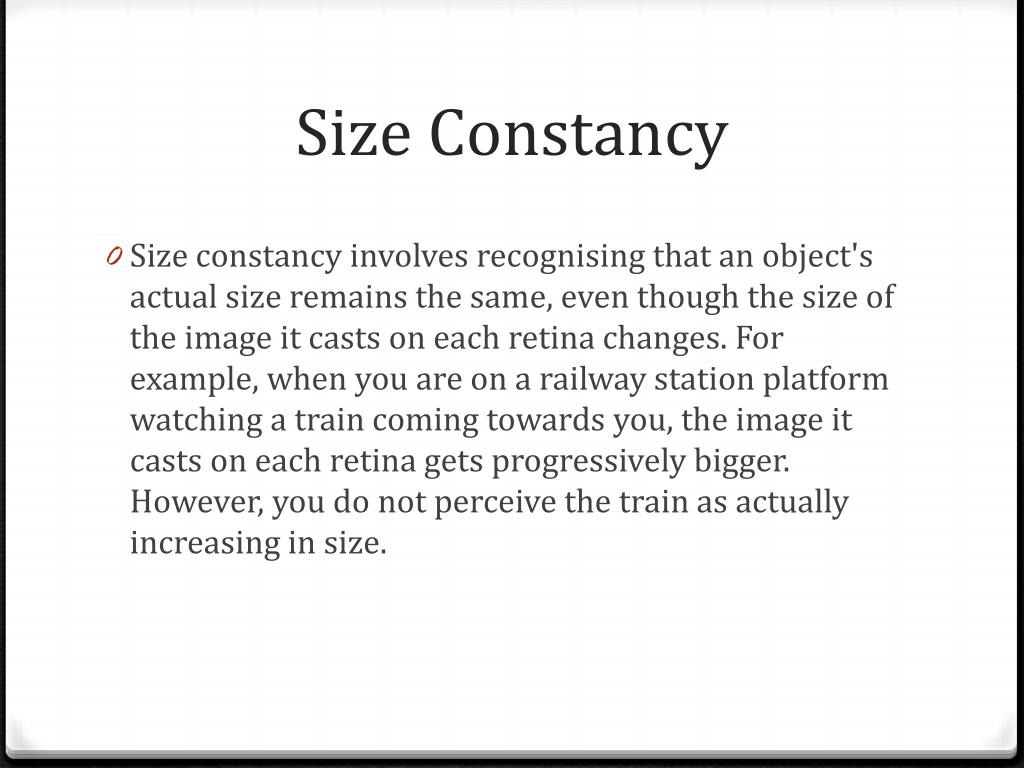 PPT - Perceptual Constancies PowerPoint Presentation - ID