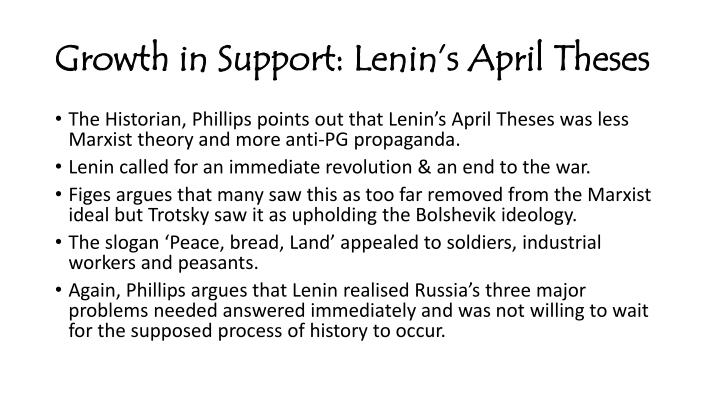 lenins april theses summary Primary documents - lenin's april theses, april 1917 introduction in russian the aprelskiye tezisy, the april theses formed a programme developed by lenin during the 1917 russian revolution.