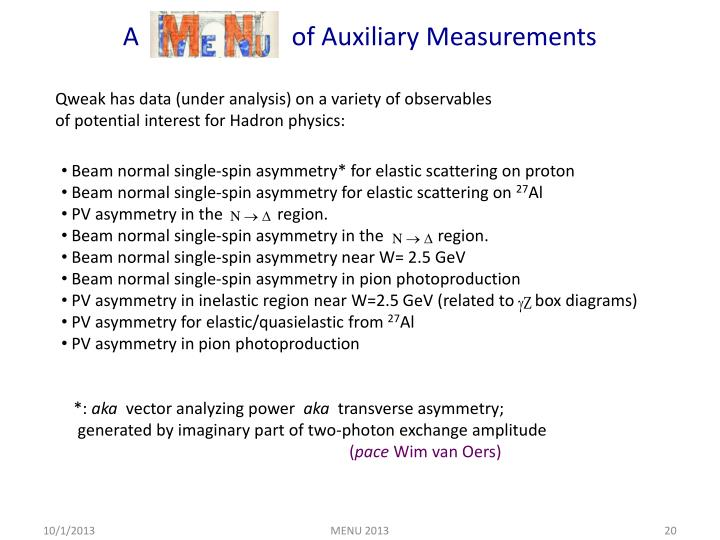 A                        of Auxiliary Measurements