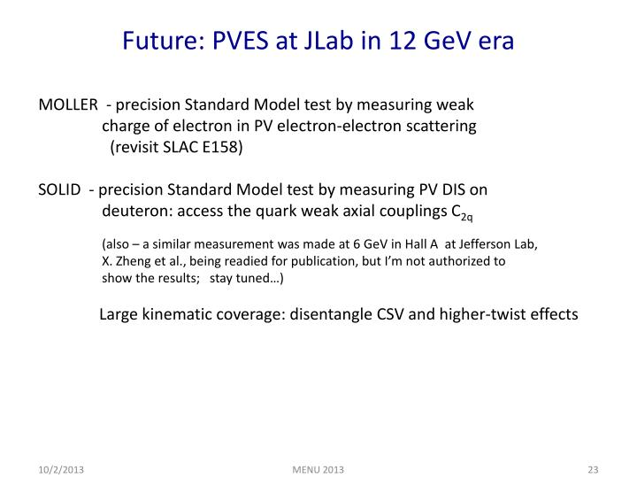 Future: PVES at