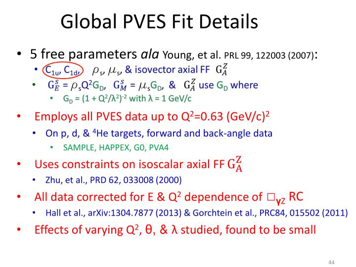 Global PVES Fit Details