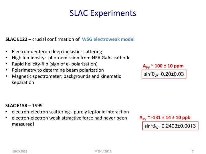 SLAC Experiments