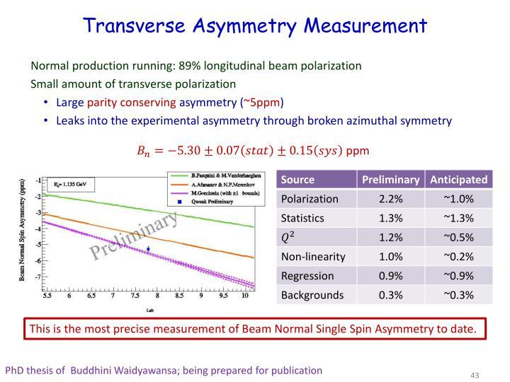 Transverse Asymmetry Measurement