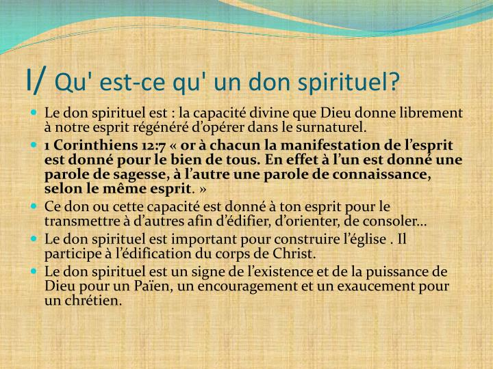 I qu est ce qu un don spirituel