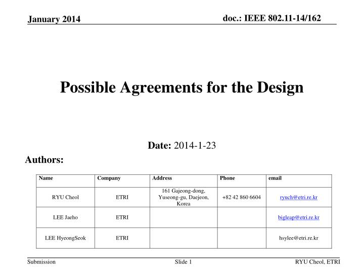 possible agreements for the design n.