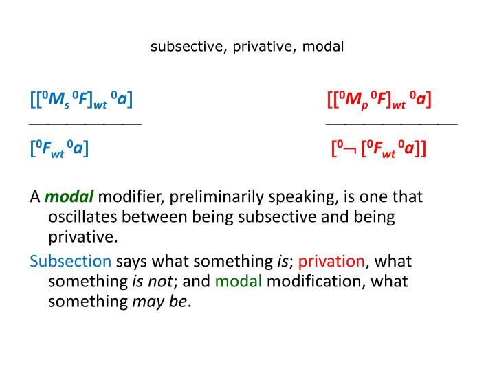 subsective, privative, modal