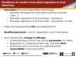c onditions for modern food safety regulation to work effectively
