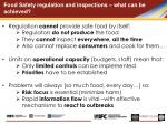 food safety regulation and inspections what can be achieved