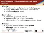 key principles for effective and efficient food safety regulation