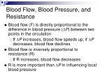 blood flow blood pressure and resistance