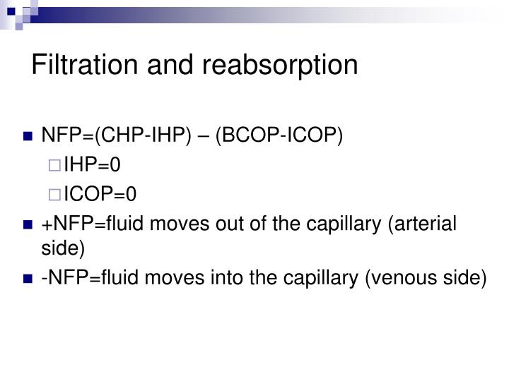 Filtration and reabsorption