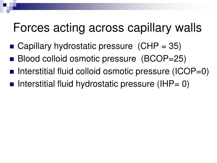 Forces acting across capillary walls