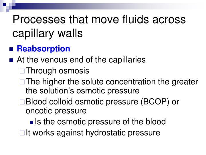 Processes that move fluids across capillary walls