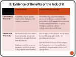 3 evidence of benefits or the lack of it