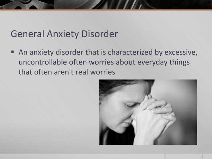 a research on anxiety disorder Each anxiety disorder has unique symptoms anxiety disorders are typically diagnosed when fear of non-threatening situations, places, events, or objects an anxiety disorder may also be diagnosed if you have general feelings of fear or worry that interfere with your daily life and have lasted at least six.