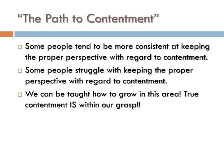 The path to contentment1