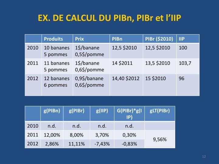 EX. DE CALCUL DU