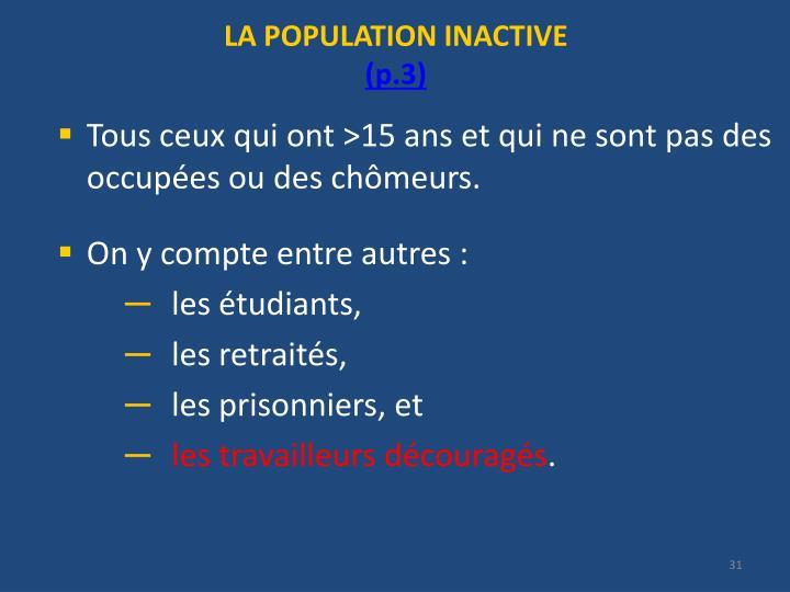 LA POPULATION INACTIVE