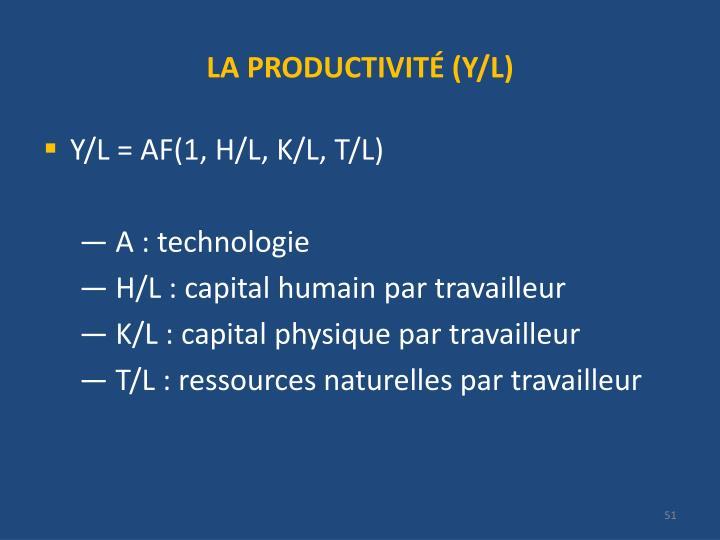 LA PRODUCTIVITÉ (Y/L)