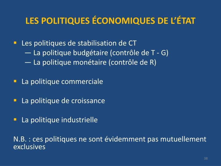 LES POLITIQUES ÉCONOMIQUES DE L'ÉTAT