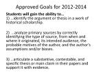 approved goals for 2012 2014