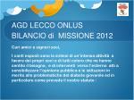 agd lecco onlus bilancio di missione 2012