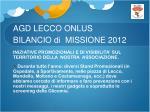 agd lecco onlus bilancio di missione 201210