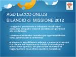 agd lecco onlus bilancio di missione 20122