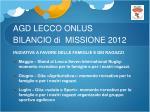 agd lecco onlus bilancio di missione 20127