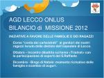 agd lecco onlus bilancio di missione 20128