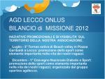 agd lecco onlus bilancio di missione 20129