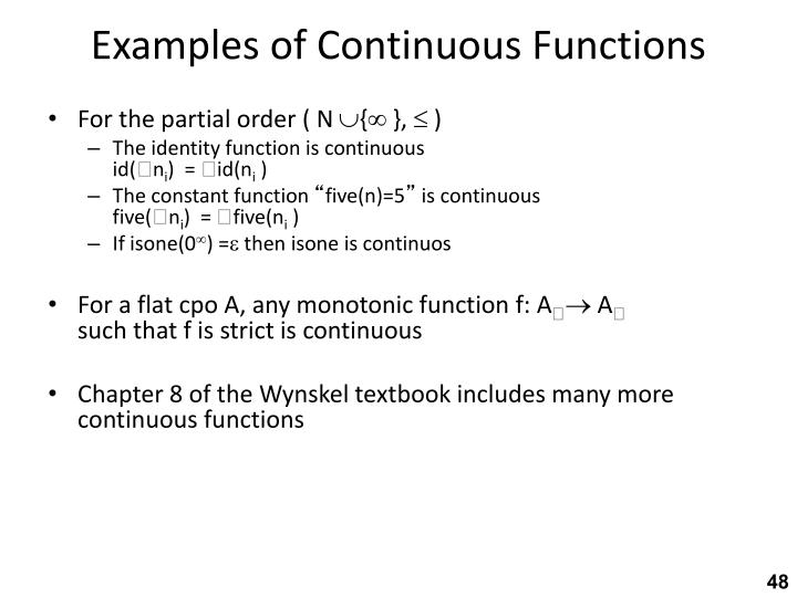 Examples of Continuous Functions